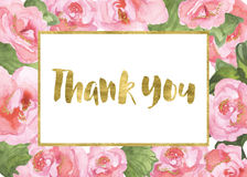 Thank You. Card with begonias and gold glittery texture stock illustration
