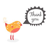 Thank you card with birds. Vector thank you note with cute bird and speech bubbles Royalty Free Stock Photo