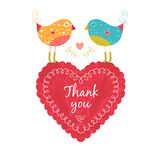 Thank you card with birds. Vector thank you note with birds, flower and heart Royalty Free Stock Photography