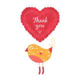 Thank you card with birds. Vector thank you note with birds, label and heart Stock Photography