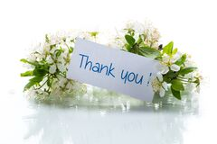 thank you card and blooming spring branch with flowers