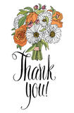 Thank you card with bouquet. Calligraphy and hand  Royalty Free Stock Photo