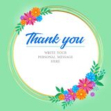 Thank you card with bouquet of colorful flowers