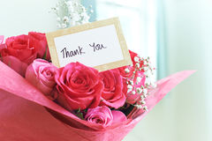 Thank You Card In Bouquet Of Flowers. Thank You Card In Bouquet Of Beautiful Flowers Stock Photo