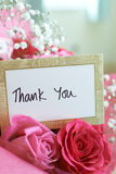 Thank You Card In Bouquet Of Flowers Royalty Free Stock Photo