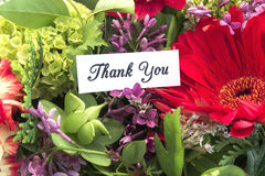 Thank You Card. With Bouquet of Spring Flowers Royalty Free Stock Photography
