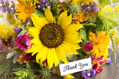 Thank You Card with Bouquet of Summer Flowers Royalty Free Stock Images