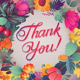Thank you card in bright colors. Stylish floral background with text, berries, leaves and flower Stock Image