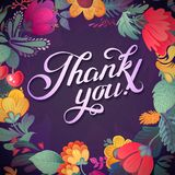 Thank you card in bright colors.Stylish floral background with text, berries, leaves and flower royalty free illustration