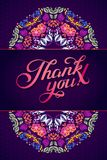 Thank you card in bright colors. Stylish floral background with text, berries, leaves and flower Royalty Free Stock Photography