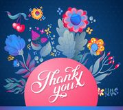 Thank you card in bright colors.  Stylish floral background with text, berries, leaves and flower Royalty Free Stock Image