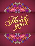 Thank you card in bright colors. Stylish floral background with text, berries, leaves and flower Stock Photography