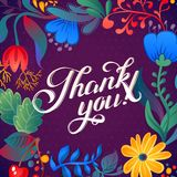Thank you card in bright colors. Stylish floral background with text, berries, leaves and flowerΠRoyalty Free Stock Photo