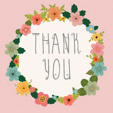Thank you card. Bright floral frame on pink background Royalty Free Stock Photos