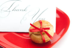 Thank you card,cake nut and ribbon Royalty Free Stock Images