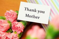 Thank you card and carnation Stock Image