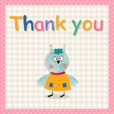 Thank you card. Cartoon character. Colorful graphic illustration Stock Photo