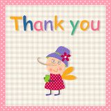 Thank you card. Cartoon character. Colorful graphic illustration Royalty Free Stock Photos