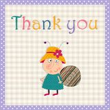 Thank you card. Cartoon character. Colorful graphic illustration Royalty Free Stock Images