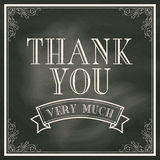 Thank You card with Chalkboard Background Stock Photo
