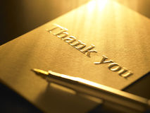 Thank you card. Close up on thank you card Royalty Free Stock Image