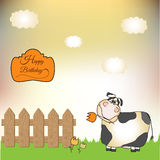 Thank you card with cow stock illustration