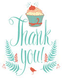 Thank you card with cupcake. Calligraphy and hand  Stock Photo