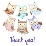 Thank you card with cute owls Royalty Free Stock Images
