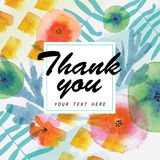 Thank you card decorated with watercolor floral elements. Stock Images