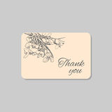 Thank you card with delicate snowdrop flowers. Vintage grunge marriage design template, pastel floral artwork. Vector Stock Image