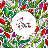 Thank you card design, hand drawn cute flowers. Colored ornate floral doodle frame Stock Photos