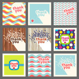 Thank you card design template set. Retro style Royalty Free Stock Images