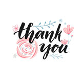 Thank You Card Design With Brush Calligraphy And Hand Drawn Pastel Pink Flowers Stock Photography