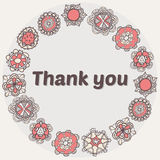 Thank you card with ethnic ornament. Stylish floral background Stock Photo