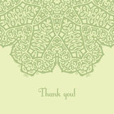 Thank you card. Exquisite green template of greeting card with thank you text Royalty Free Stock Photo