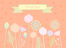 Thank you card floral designs. Beautiful thank you card with flowers Royalty Free Stock Images