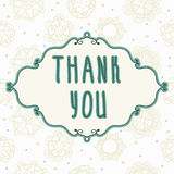 Thank You card with floral elements. Vintage background Stock Image