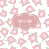 Thank you card. floral with text and flowers. Pink. Thank you card. floral with text  heart and flowers. Pink pastel hand drawn vector illustration Stock Photo