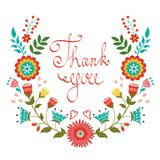 Thank you card with floral wreath royalty free illustration