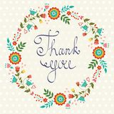 Thank you card with floral wreath Stock Image