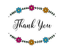 Thank you. Card with flower`s frame Stock Photos
