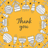 Thank you card. With flowers hand drawn. Vector illustration on yellow background Stock Photography