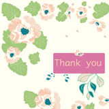 Thank you card with flowers Royalty Free Stock Image