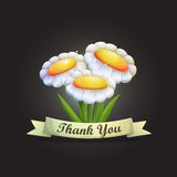 Thank you card with flowers vector design background. Royalty Free Stock Photography