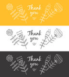 Thank you card. With flowers. Vector illustration on white, yellow and black background Royalty Free Stock Photos