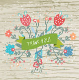 Thank you card with flowers and wood texture Stock Photography