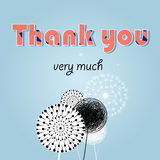 Thank you card, with font Royalty Free Stock Image