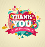 Thank you, card with fun icons and flowers Royalty Free Stock Image
