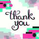 Thank You Card with Glitch Effect. Royalty Free Stock Images