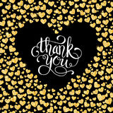 Thank you card of glitter golden heart with hand lettering Stock Image